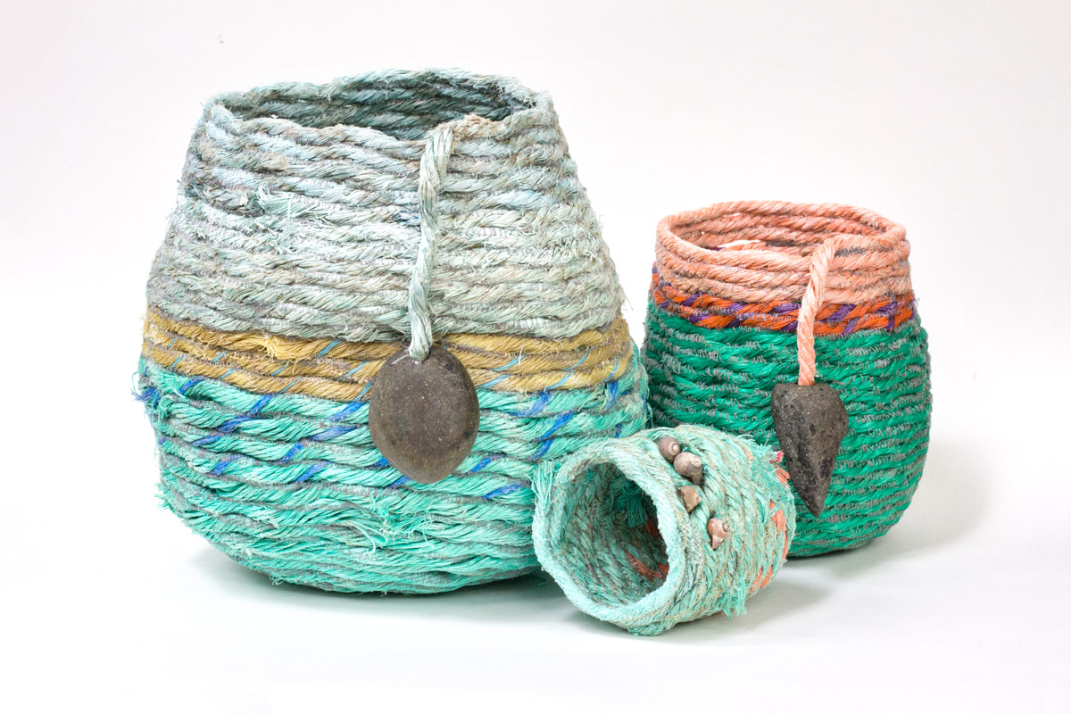 2017 rope baskets, fiber art sculpture by artist Emily Miller