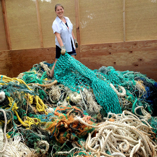 Collecting fishing rope for Rope Baskets on Kauai