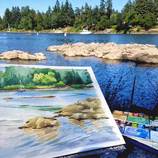 Plein Air Watercolor in Lake Oswego