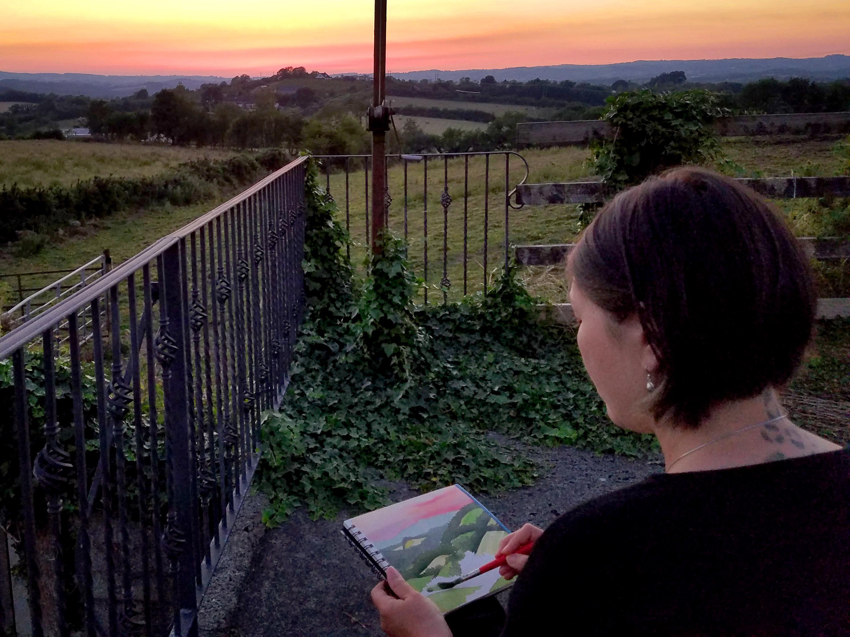 Artist Emily Miller plein air painting in Ireland