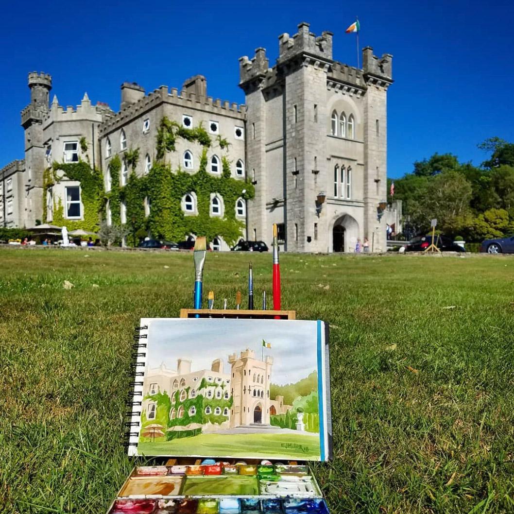 Plein air painting Cabra Castle Ireland