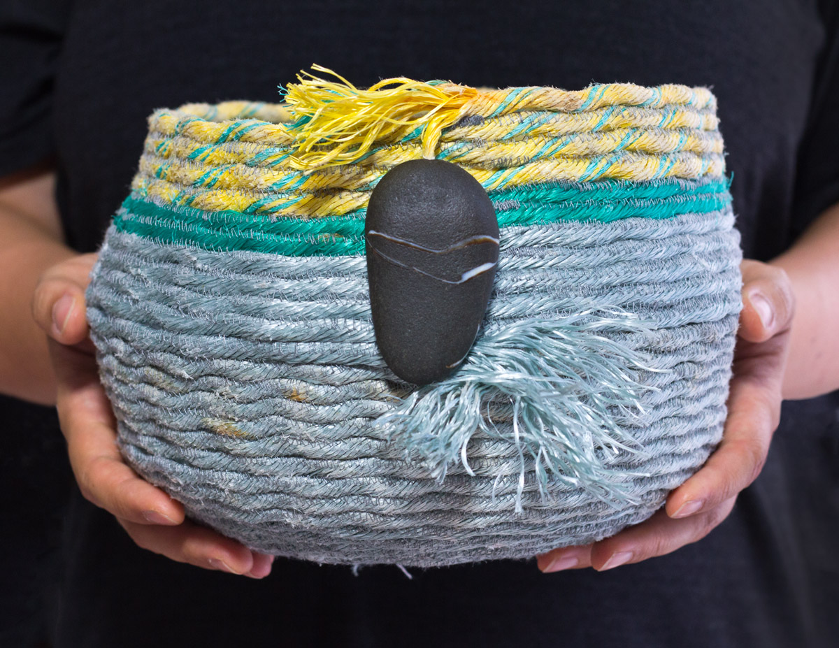 Sunbreak, Oregon Coast ghost net rope basket, fiber art by Emily Miller