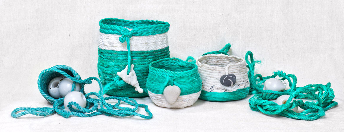Ukidama baskets - Japanese ghost net rope baskets, fiber art by Emily Miller