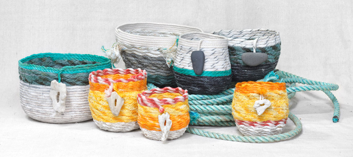 Kauai baskets - ghost net rope baskets, fiber art by Emily Miller
