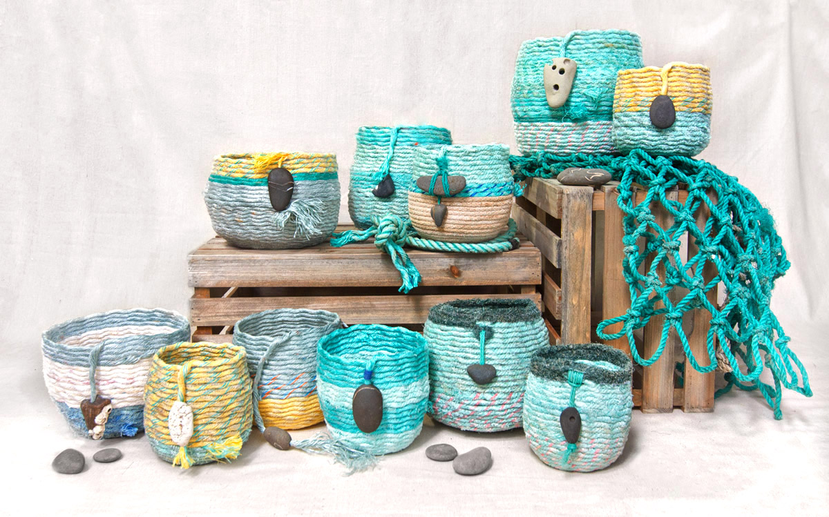Oregon Coast baskets - ghost net rope baskets, fiber art by Emily Miller