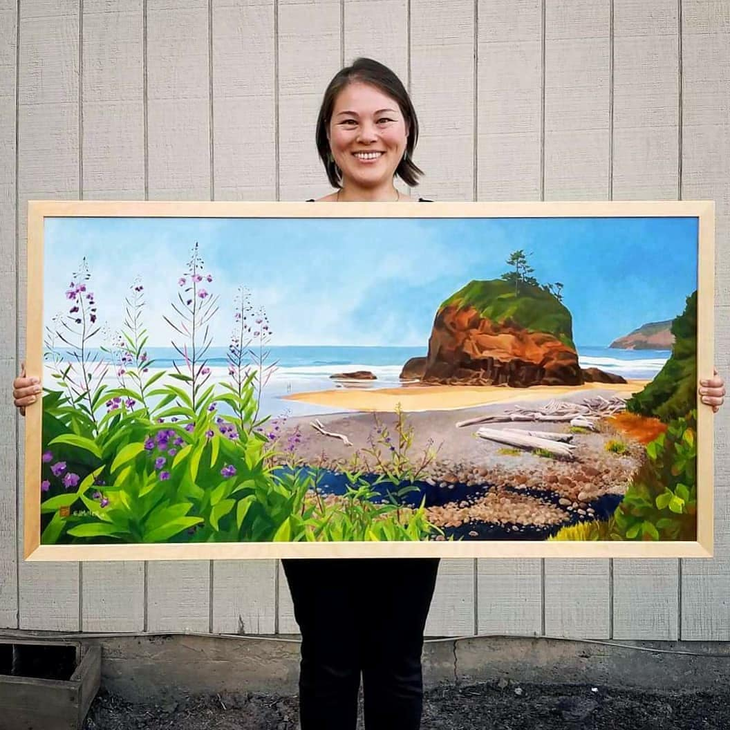 Summer Heat at Short Beach, Oregon coast painting by Emily Miller