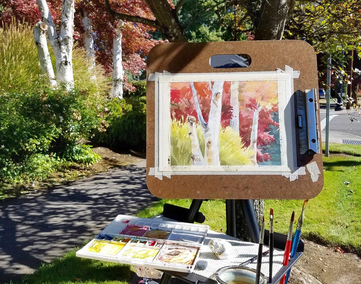 Oregon autumn plein air painting by Emily Miller