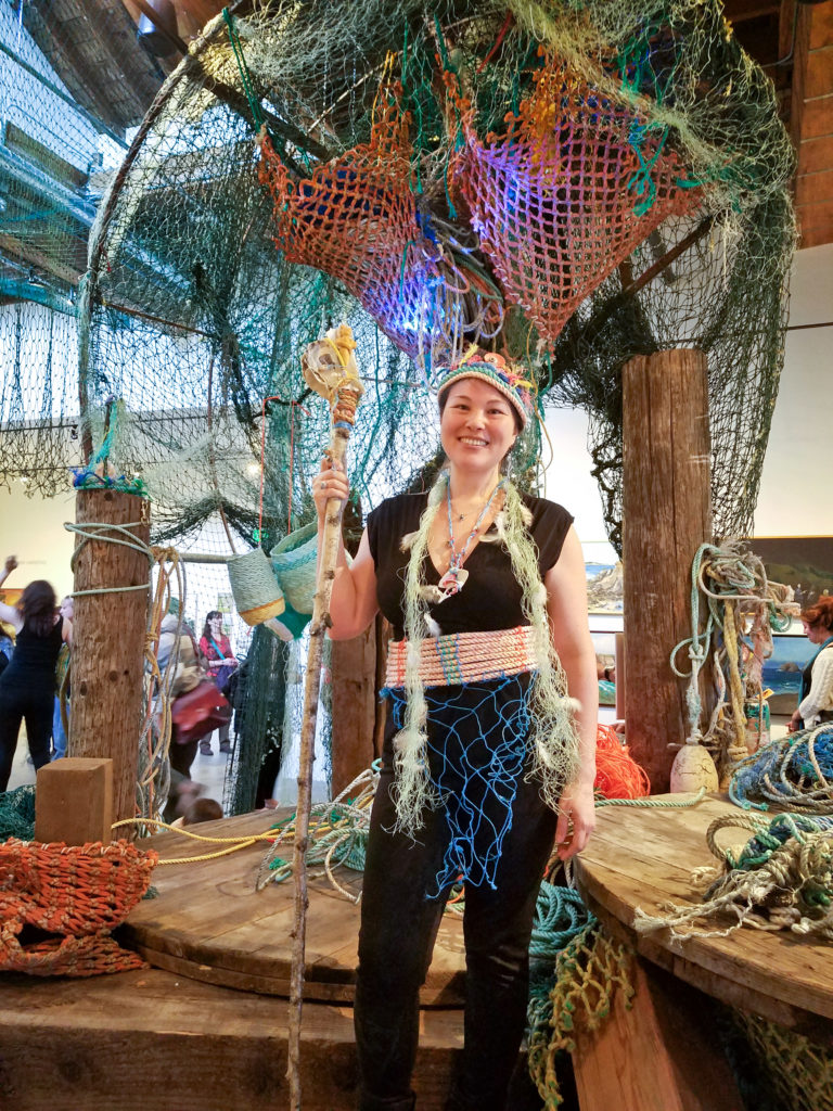 Artist Emily Miller after opening night performance in the Ghost Net Landscape installation at Elisabeth Jones Art Center, Portland Oregon