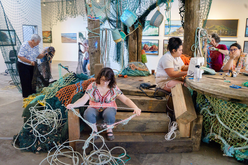 Artists at work in the Ghost Net Landscape