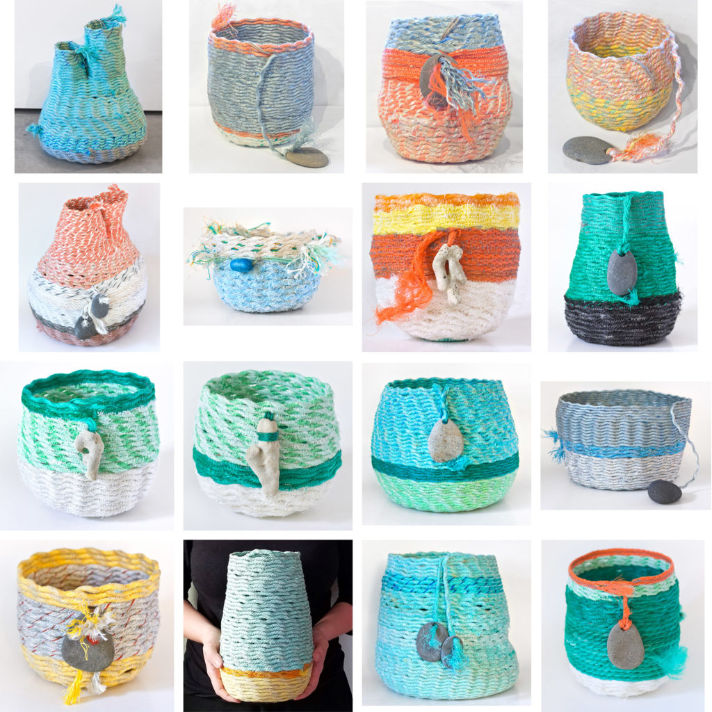 16 ghost net baskets by Emily Miller - reclaimed fishing net fiber art sculpture